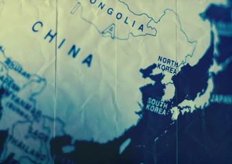 north south korea map