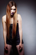 Woman straight long hair make-up posing