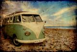 Fototapety Retroplakat - Bulli am Strand