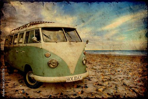 Foto op Canvas Vintage Poster Retroplakat - Bulli am Strand