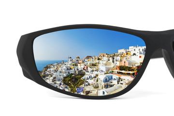 Resort reflection in sunglasses