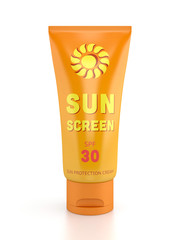 Sunscreen tube isolated on white