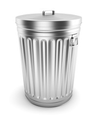 Single steel trash can