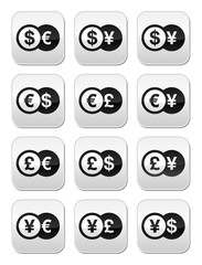 Exchange money buttons set - dollar, euro, yen, pound