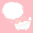 Woman In Bathtub Soap Bubbles Waves Pink