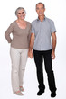 Senior couple on a white background