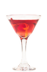 Manhattan cocktail over white background
