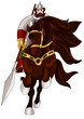Knight horse character cartoon style vector illustration white