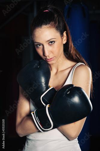 Staande foto Boxing woman sensual portrait in the gym.
