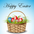 Easter card with basket and eggs