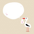 Stork Baby Girl Speech Bubble Beige