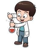 Vector illustration of Little Scientist holding test tube