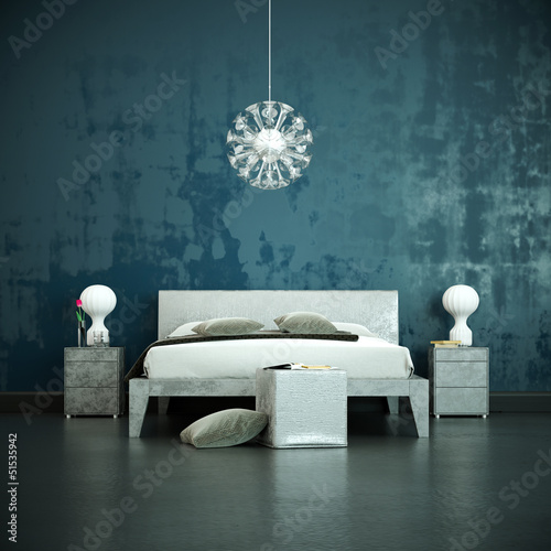schlafzimmer vor blauer wand von virtua73 lizenzfreies foto 51535942 auf. Black Bedroom Furniture Sets. Home Design Ideas