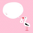 Stork Baby Girl Speech Bubble Pink