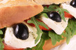 Salad sandwich mozzarella and olives
