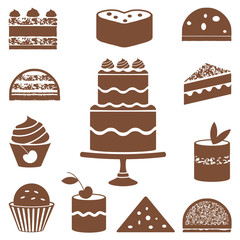 Various cakes and cupcakes silhouettes
