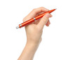 Hand with orange pen on white background .