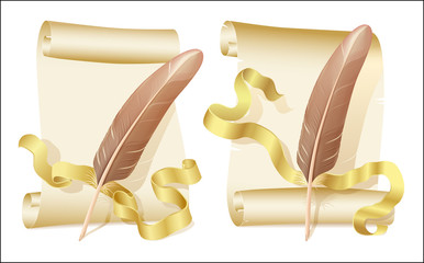 Old scroll, manuscript and quill, eps8 vector