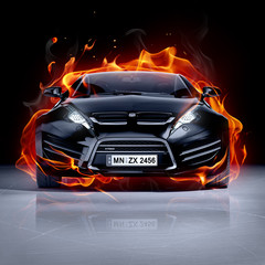Fire car on ice. Brandless sports car.