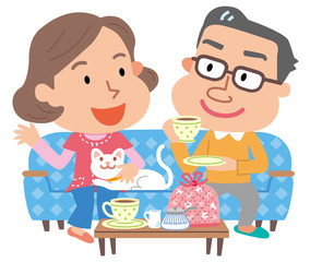 夫婦 お茶の時間 イラスト