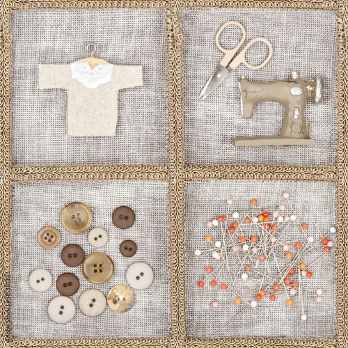 Sewing items on brown background