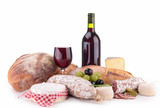 red wine with cheese and sausage