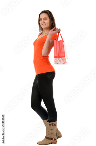a beautiful woman shopping isolated on white background