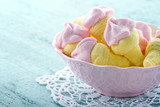 Sugary pink marshmallows in a bowl