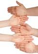 five hands with copyspace