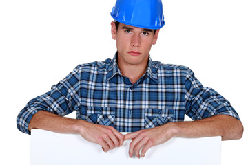Builder looking upset