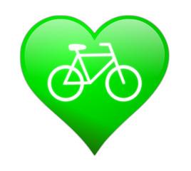 Grünes Herz Fahrrad
