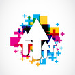 abstract colorful positive arrow icons