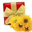 Festive gift box with flowers  isolated on white background