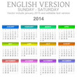 Sunday to saturday 2014 calendar english vector illustration