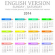 Sunday to saturday 2014 calendar with crayons english vector