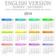 Sunday to saturday 2014 calendar with crayons english vector