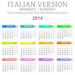 Calendario 2014 vettoriale Italiano con matite colorate