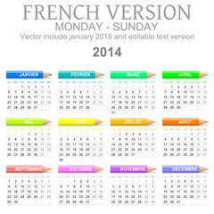 2014 French vectorial calendar with crayons