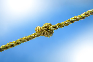 Gold rope knot on blue