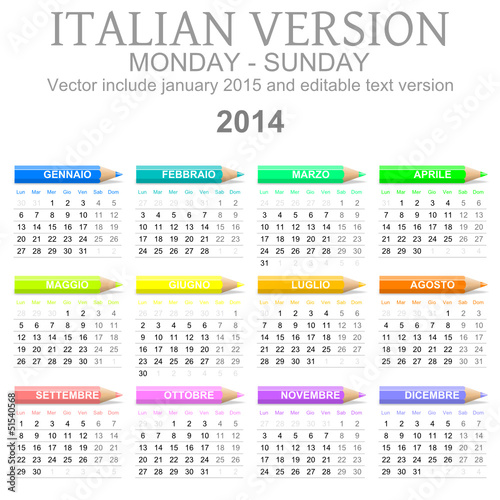 Calendario 2014 vettoriale Italiano con matite colorate
