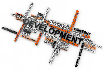 word cloud development over white background