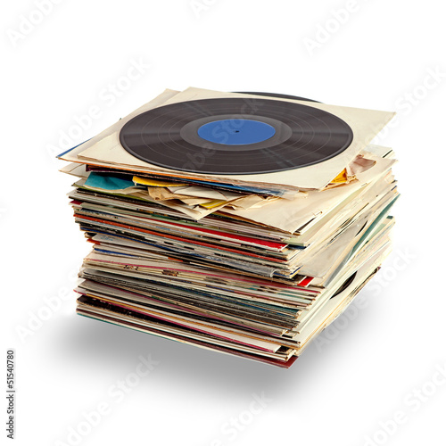 Vinyl records with shaddow on white background