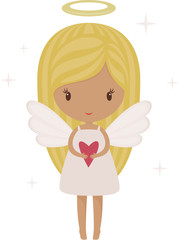 Angel girl isolated with heart