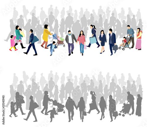 歩く人たち シルエット
