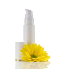 cosmetics gel and flower