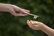 Leinwanddruck Bild - adult hands key to child