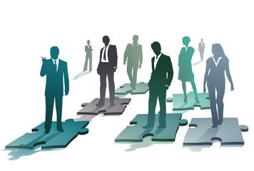 Gruppe von Geschäftsleuten auf einen Puzzel