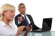 Businessman criticising his colleague