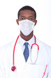 Young African doctor wearing face mask
