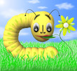 The caterpillar eats flower